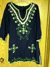 Lovely Navy/Pink/Green Cotton Embroidered Cover-up 1X 2X  NWT