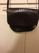 Jacqueline Ferre Brown Embossed Croc Leather Shoulder Cross Body Handbag
