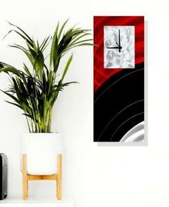 Hand Painted Metal Wall Clock Art Red Black Modern Abstract Decor by Jon Allen