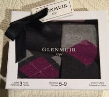 Glenmuir 1891 Argyle Diamond Ladies 3 Pairs Socks Size 5-9 New in Gift Box