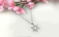 Star of David Religious Pendant Necklace with Micro Pave CZ, Sterling Silver