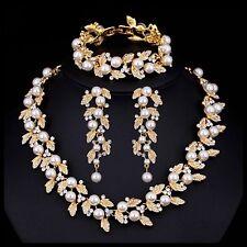 Bridal Wedding Necklace Earring Bracelet Set Clear Crystal Leaf Ivory Pearl Gold