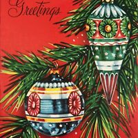 Vintage Mid Century Christmas Greeting Card Atomic Ornaments