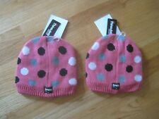 Twin girls POLKA DOTS HOT PINK KNIT FLEECE Winter Snow hats NWT 4 5 6 7 8