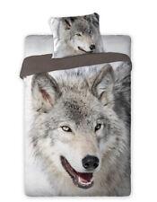 Wolf Bettwäsche Set 135-140x200 Bettwaren Garnitur 100% Baumwolle Tierprint NEU