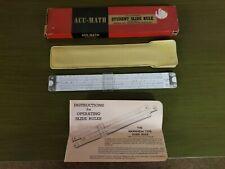 Vintage Acumath No. 500 Slide Rule - Faux Leather Case, Box, Instructions