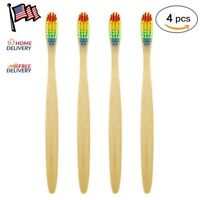 4PCS Eco-Friendly Rainbow Bamboo Toothbrush Ecological Biodegradable Handle Soft