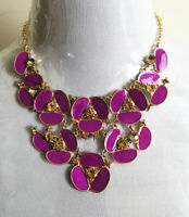 unsigned kate spade PURPLE ENAMEL PANSY ROSE FLOWER Rhinestone Chunky Necklace