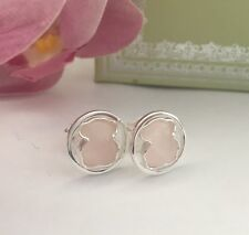 Original TOUS Camille Silver And Pink Quartz Stud Earrings