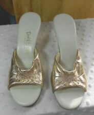 Vtg Daniel Green Gold Slippers Classic Mule Style Gathered Center Pump # 6055