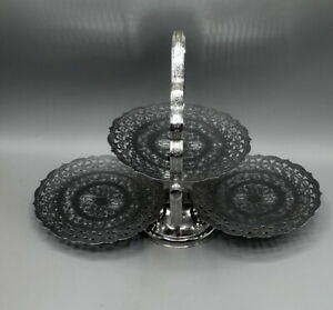 Vintage Chrome Plated 3 Tier Folding Cake Stand Sandwich Afternoon Tea
