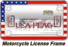 USA AMERICAN FLAG MOTORCYCLE CHROME METAL LICENSE PLATE FRAME TAG COVER / HOLDER