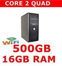 DELL 780 COMPUTER PC Core 2 QUAD 16 GB Ram 500 GB WINDOWS 10 WIFI Pronto