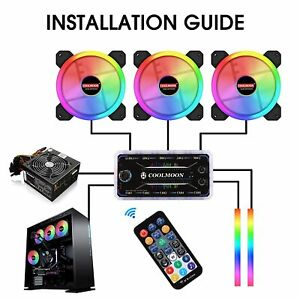12V DC Computer Case 120mm Fan RGB 6PIN Colorful Lamp Radiator Cooler PC Fans