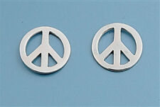 Silver Peace Sign Stud Earrings Sterling Silver 925 Best Deal Plain Jewelry 9mm
