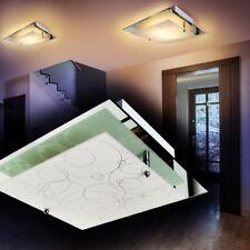 Lámpara de techo espejo pantalla cristal blanco diseño moderno salón dormitorio