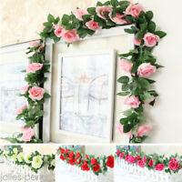 1xArtificial Silk Rose Flower Ivy Vine Leaf Garland Wedding Party Home Decor New