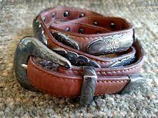 J&M Davidson ornate brown leather and silver belt size 32