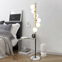 Modern 6 White Glass Globe Ball LED Floor Lamp Golden Standing Lamp Marble Base