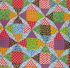 Patchwork Quilt Print Cotton Fabric By the Yard Multicolor 35 Wide
