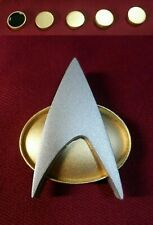 Star Trek Next Generation Communicator Pin Combadge Com Badge + Rank 8x4mm Pip