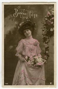c 1907 French Beauty GATHERING FLOWERS Fashion Lady photo postcard