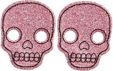 (2) 60059 Pink Glitter Skull Hair Clips Sourpuss Barrettes Sparkly SET OF TWO