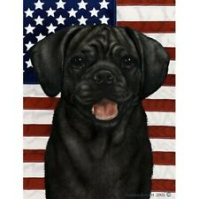 Patriotic (D2) House Flag - Black Puggle 32280