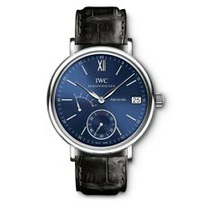 NEW IWC Portofino Hand Wound Eight Days Blue Steel 45mm Manual Watch IW510106