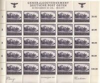 Stamp Germany Poland General Gov't Mi 113 Sheet 1943 WWII War Era Castle MNH