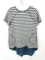 LOGO Lori Goldstein Tunic Top Short Sleeve Black White Stripe Pockets Size Small