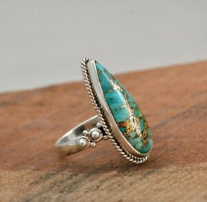 925 Sterling Silver Certified Handmade Copper Turquoise stone Unisex Dragon Ring