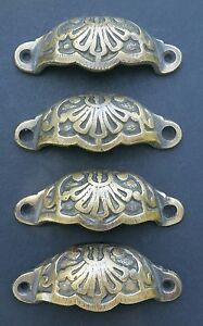 """4 Apothecary Drawer Cup Pulls Handles Ant. Victorian Style Solid Brass 3""""c. #A2"""