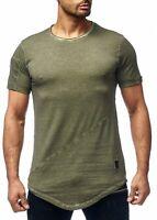 Herren T-Shirt Grün Long Shirt Oval Slim Fit Rundhalsausschnitt 9042 John Kayna