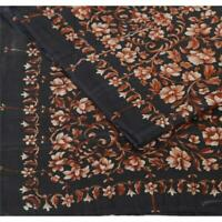 "Tcw Vintage Pure Silk Printed Design Fabric Decor Indian Craft 45""X44"""