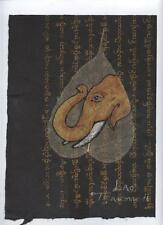 Original Ink and Oil with Bodhi Leaf   Elephant    Vientiane Laos       BL26