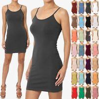 TheMogan Women's Sleeveless Spaghetti Strap Cami Slip Short Mini Bodycon Dress