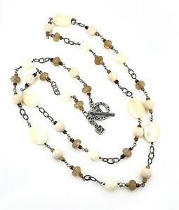Silpada .925 Sterling Silver Mother of Pearl, Quartz & Coco Bead Necklace N1504