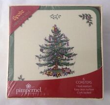 Set of 6 Pimpernel Spode Christmas Tree Coasters Cork Back Gift Boxed