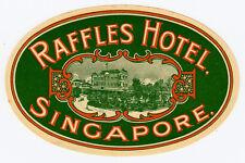 Raffles Hotel SINGAPORE Singapur * Old Luggage Label Kofferaufkleber