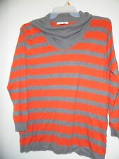August Silk Gray Orange Turtle Neck  Long Sleeve Striped Sweater Soft Sz XL EUC!
