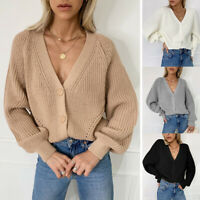 Women V-Neck Button Sweater Knitwear Tops Ladies Long Sleeve Knitted Cardigan