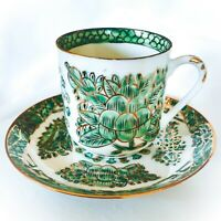 Vintage Hand Painted Demitasse Cup & Saucer Set Green & Gold Leaves & Flowers