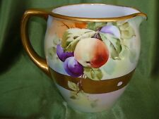 """PICKARD'S ARTIST """"BITTERLY"""" SIGNED HAND PAINTED WATER PITCHER, PLUMS"""