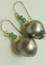 Pair grey 11mm baroque Tahitian pearl genuine  Emerald solid 14k dangle earrings