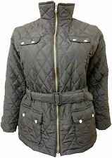 Womens Padded Belted With Pockets Quilted Collar Plus Size Winter Jacket Coat Black 26