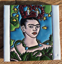"Talavera Mexican tile 4"" Day of  the Dead hi relief Frida Kahlo Self Portrait"