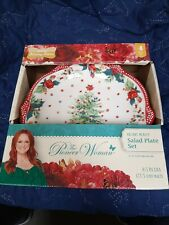 "Pioneer Woman Holiday Medley Christmas Salad Plates Set Of 4 8.5"" Cheer Dishes"