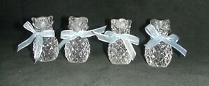 WILLIAMS SONOMA GLASS PINEAPPLE TINY TAPERS HOLDERS W/BLUE BOWS SET OF 4