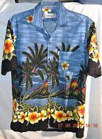 XXL 2X Hawaiian Aloha Tropical Hibiscus Volcano Max Boy Casual clubbing Shirt